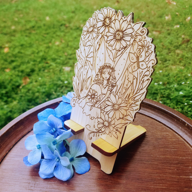 Daisy Fairy Fantasy Wood Engraved Phone Dock
