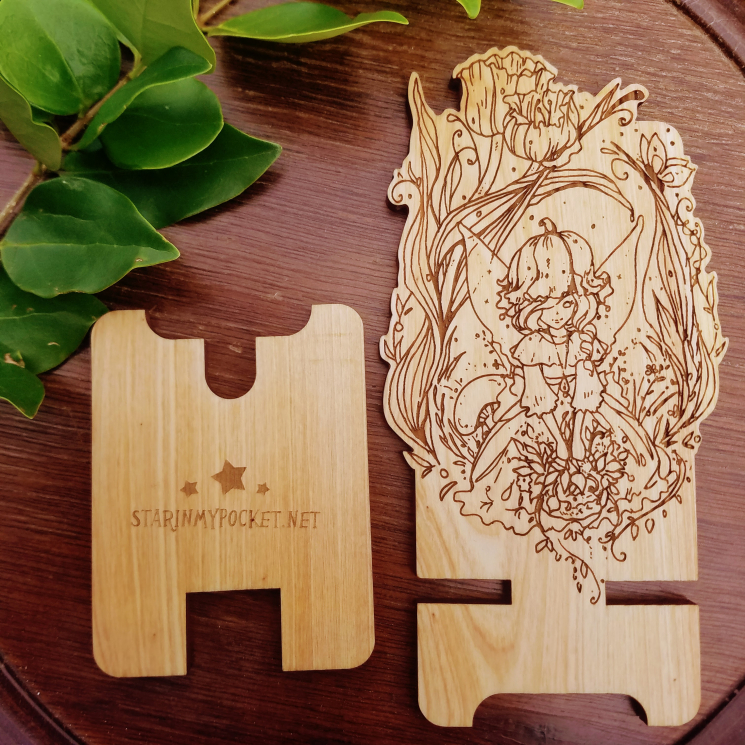 Tulip Fairy Fantasy Wood Engraved Phone Dock