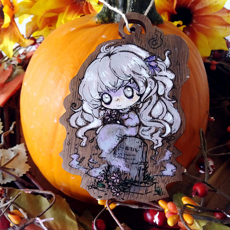 Anime Ghost Girl Wood Ornament