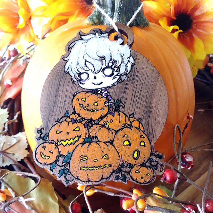 Anime Boy Pumpkin Wood Ornament Decor