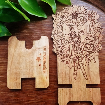 Sunflower Fairy Fantasy Wood Engraved Phone Dock