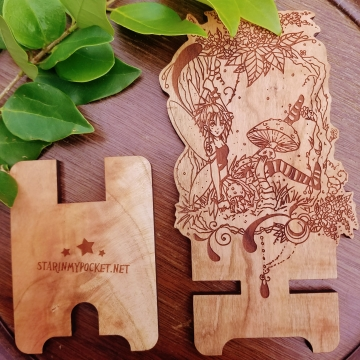 Snapdragon Fairy Fantasy Wood Engraved Phone Dock