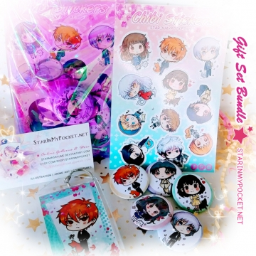 Anime Buttons Keychain Stickers Gift Set