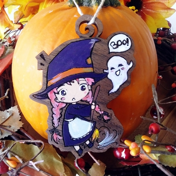 Anime Chibi Witch Ghost Ornament