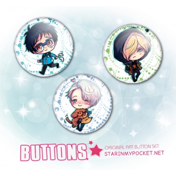 Anime Buttons Ice Skaters