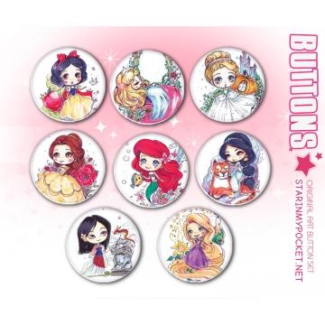 Princesses Anime Art Buttons