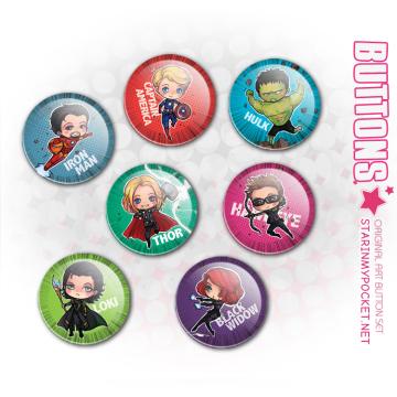 Avengers Anime Art Buttons