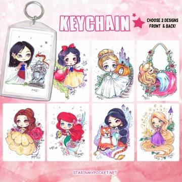 Princesses Keychain Double-Sided