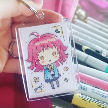 Custom Drawn Chibi Art Keychain