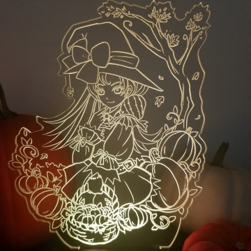 Pumpkin Witch LED Lamp